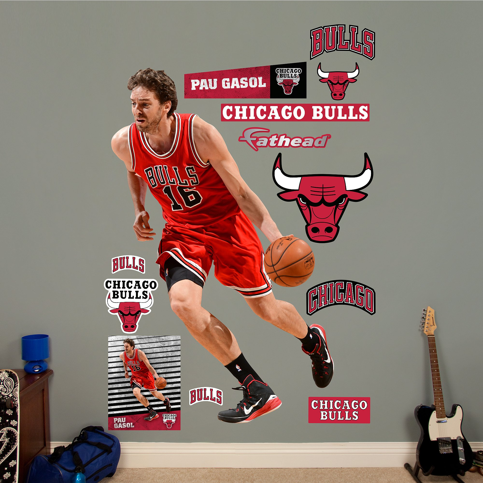 NBA Chicago Bulls Pau Gasol Fathead Real Big Decals, 49''W x 78''H by Fathead Peel and Stick Decals
