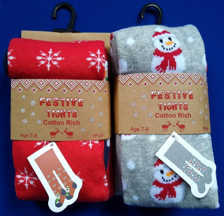 2 pares de mu/ñeco de nieve de ping/üino rojo gris Festive Tights Medias de Navidad para ni/ñas de 3 4 5 6 7 8 a/ños