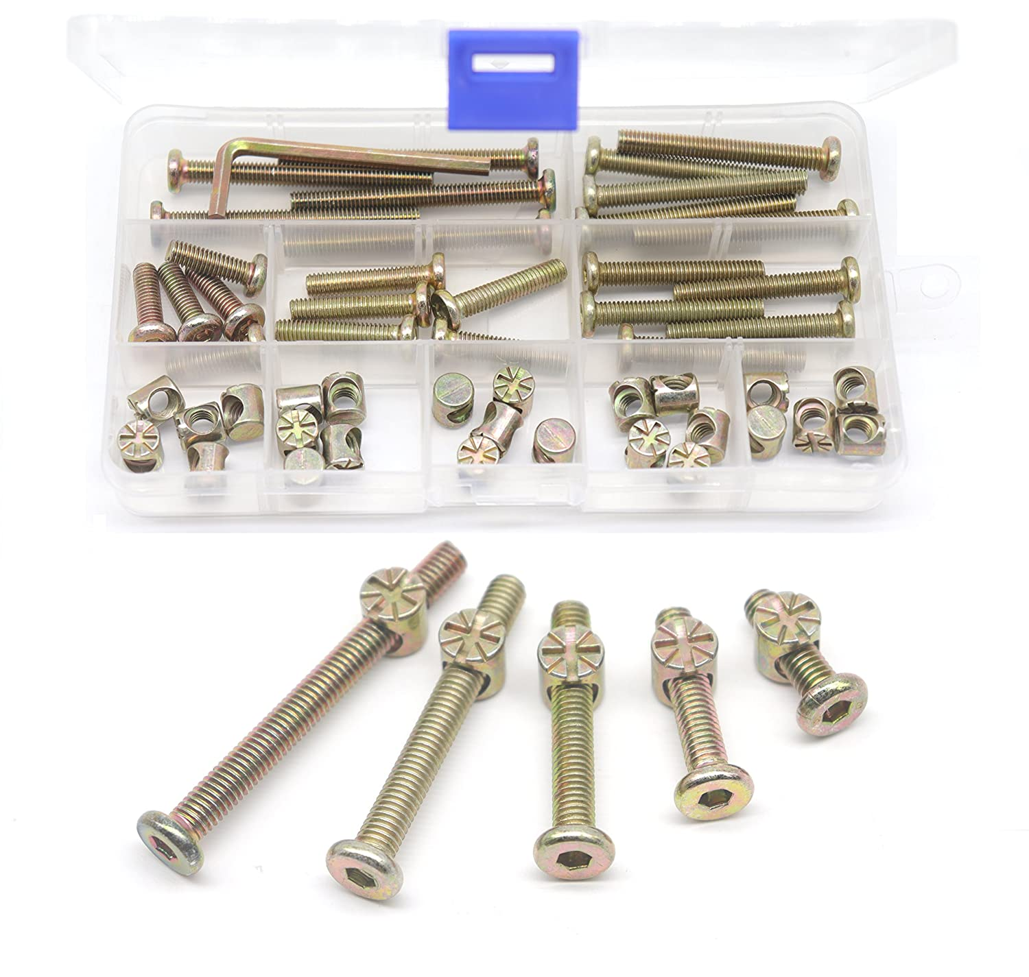 M6 Baby Crib Hardware Replacement Kit Cseao 50pcs Socket Cap Bolts Barrel Nuts Assortment Kit For Bunk Bed Furniture Chairs M6x20mm 30mm 40mm