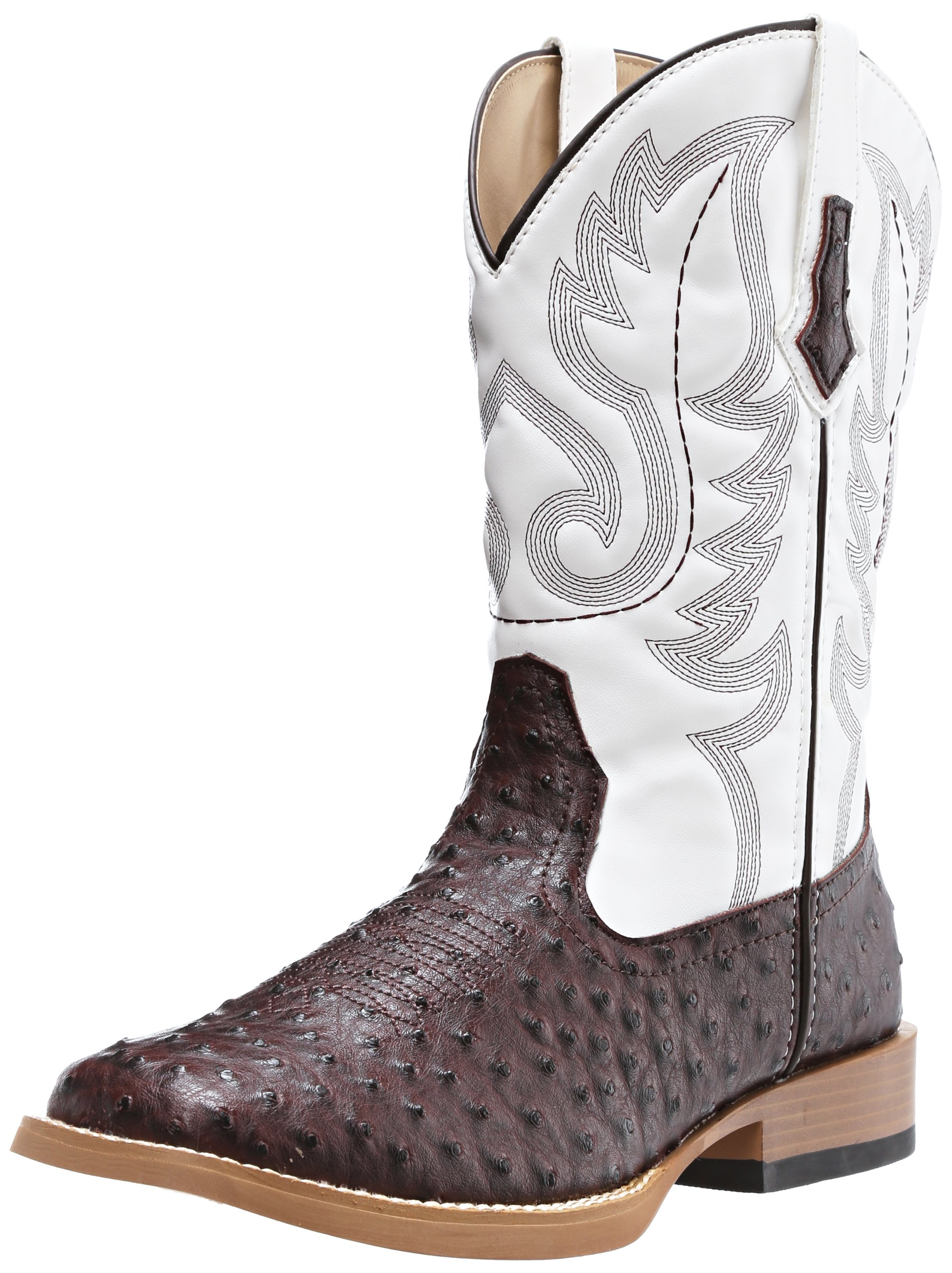 ROPER Men's Ostrich Print Square Toe Cowboy Boot, Brown Faux Leather/Western Stitch, 10 D-Medium by ROPER