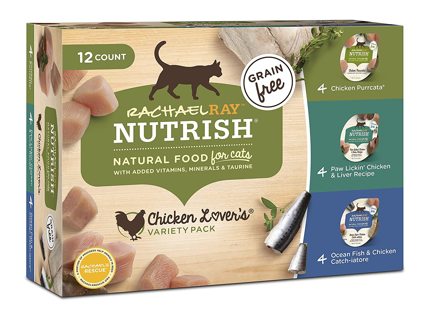 Rachael Ray Nutrish Natural Wet Cat Food, Chicken Lovers Variety Pack, 2.8 Ounce Cup (Pack of 12), Grain Free