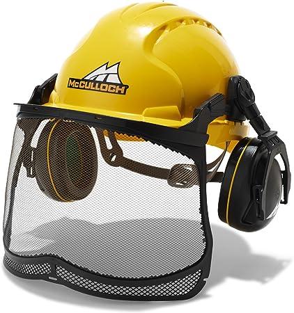 Universal 00057-76.165.16 Semi-Pro PRO016 Casco con protección auditiva y Visual, Ajuste con una Mano Posible, Gris, Amarillo