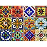 SnazzyDecal Tile Stickers 4x4 Inch 40pc Inch Kitchen Backsplash Bathroom Vinyl Waterproof Peel and Stick Mexican Talavera TR001