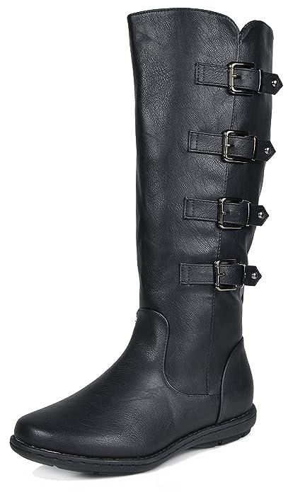 de4219530 DREAM PAIRS Women's Rush Black Faux Fur Knee High Winter Boots Wide Calf  Size 5 M