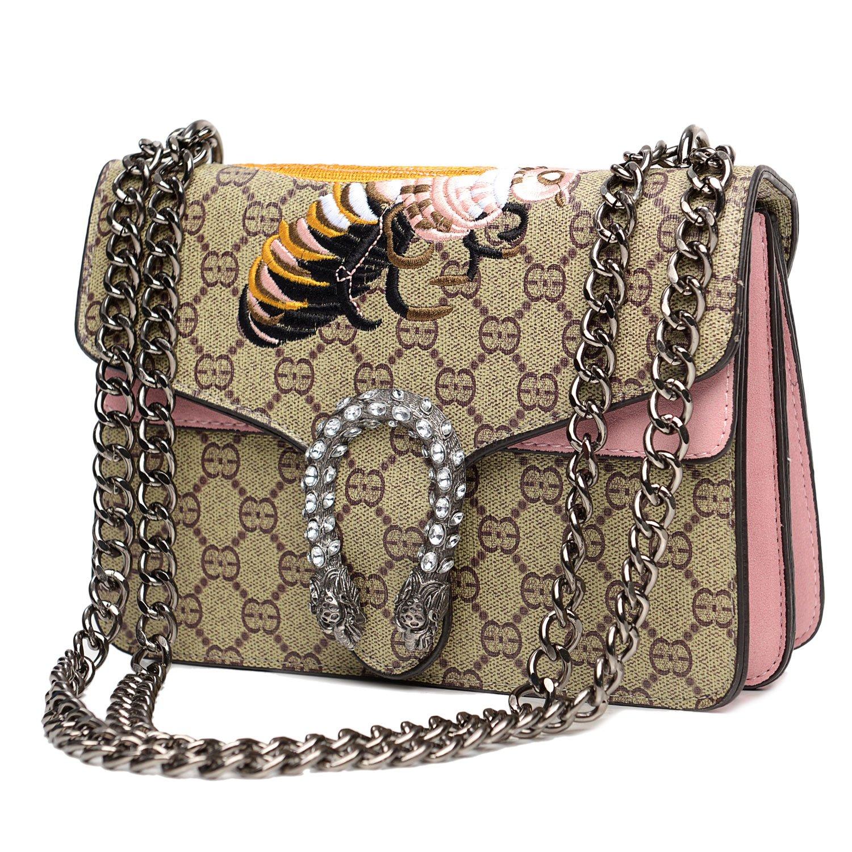 Vintga Cross-body Bag for Womens Handbag Single Shoulder Bag Purse Messager Bags (Pink)