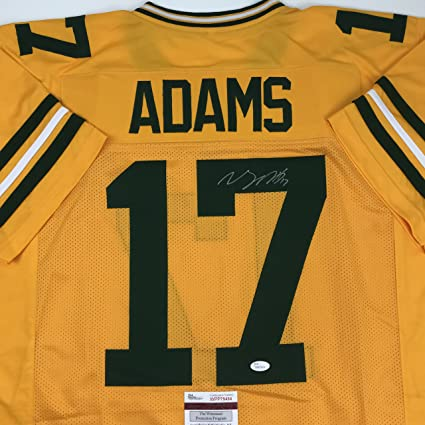 sale retailer 89122 0d736 Autographed/Signed Davante Adams Green Bay Yellow Color Rush Football  Jersey JSA COA