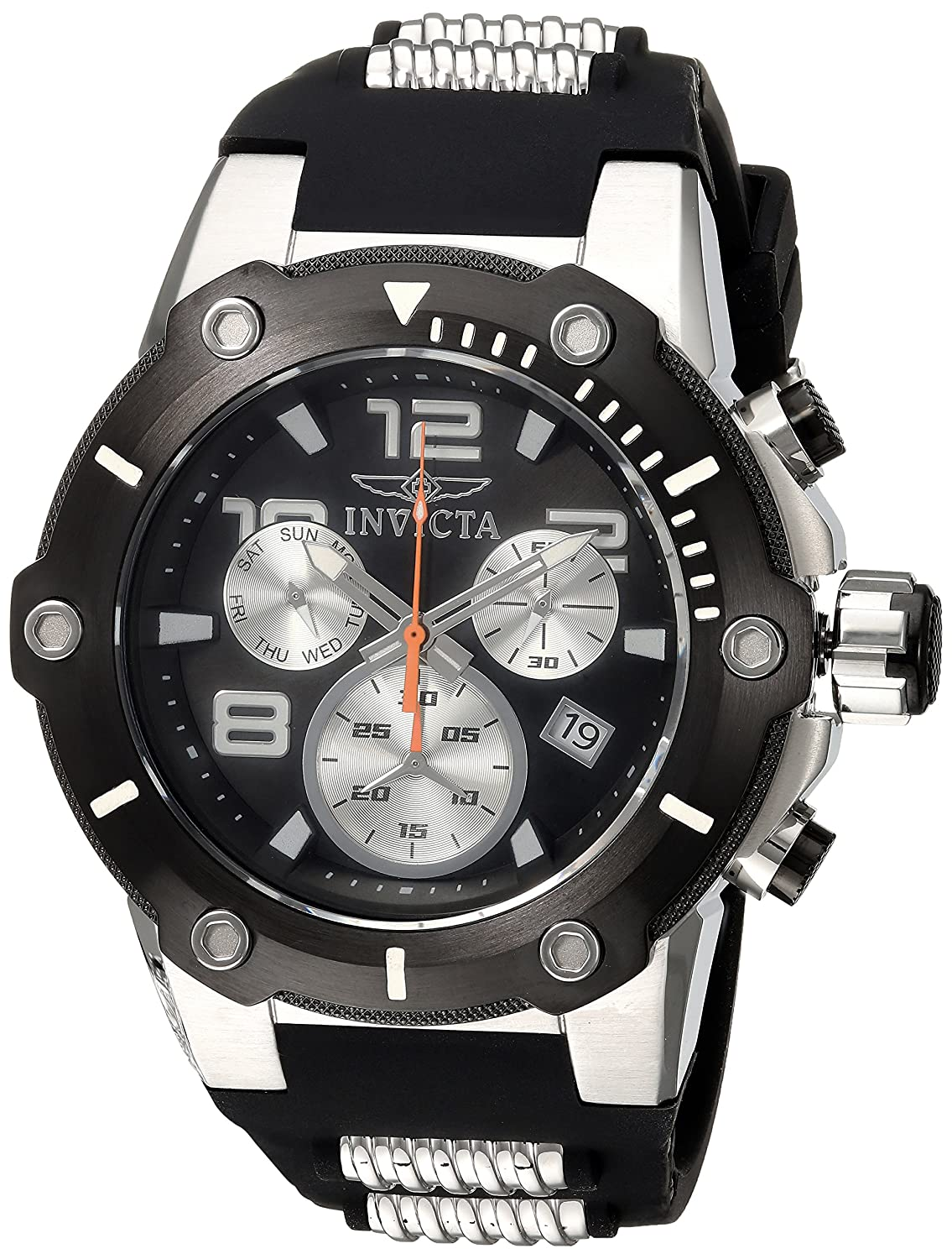 Amazon.com: Invicta Mens Speedway Stainless Steel Quartz Watch with Silicone Strap, Black, 30 (Model: 22235: Watches