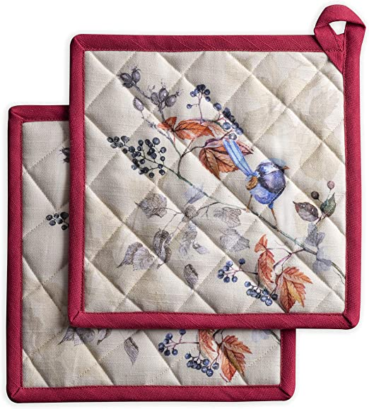 Maison d Hermine Colmar 100/% Cotton Set of 2 Pot Holders 8 Inch by 8 Inch