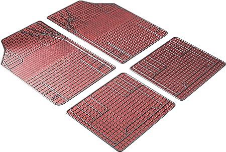 Walser 28055 Universal Auto Gummimatten Fußmatten Schmutzfangmatte 4 Teilig Zuschneidbar Rot Schwarz Auto