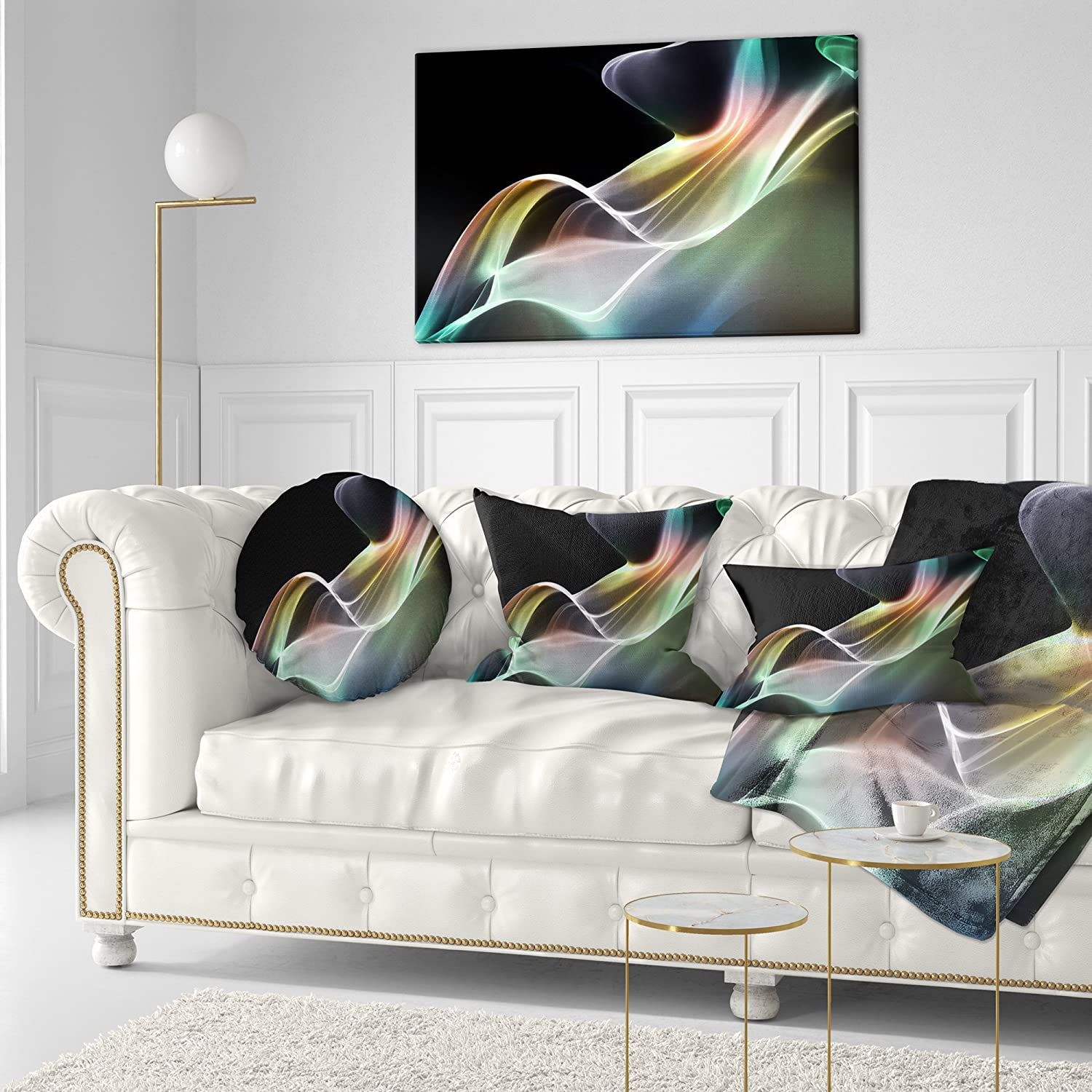 in Designart CU8126-12-20 Smoke Reflection Abstract Lumbar Cushion Cover for Living Room Sofa Throw Pillow 12 in x 20 in