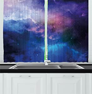 "Ambesonne Modern Kitchen Curtains, Stars Universe Themed Colorful Nebula in Cosmos Interstellar Dark Art Educational, Window Drapes 2 Panel Set for Kitchen Cafe Decor, 55"" X 39"", Navy Purple"