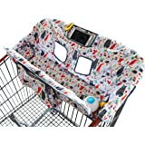Shopping Cart Cover for Baby or Toddler | 2-in-1 High Chair Cover | Universal Fit for Boy or Girl | Includes Carry Bag | Machine Washable | Fits Restaurant Highchair (Upside Down Forest Animals)