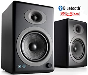 Audioengine A5+ 150W Wireless Powered Bookshelf Speakers | Built-in Analog Amplifier | aptX HD Bluetooth 24 Bit DAC, RCA and 3.5mm inputs | Solid Aluminium Remote Control | Cables Included