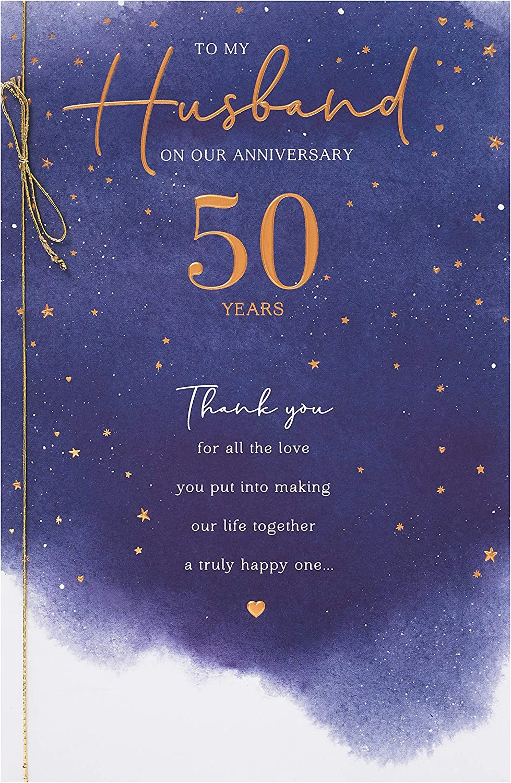 Uk Greetings Husband 50th Wedding Anniversary Card Golden Wedding Anniversary Card Romantic Message Inside 625109 0 1 Amazon Co Uk Office Products