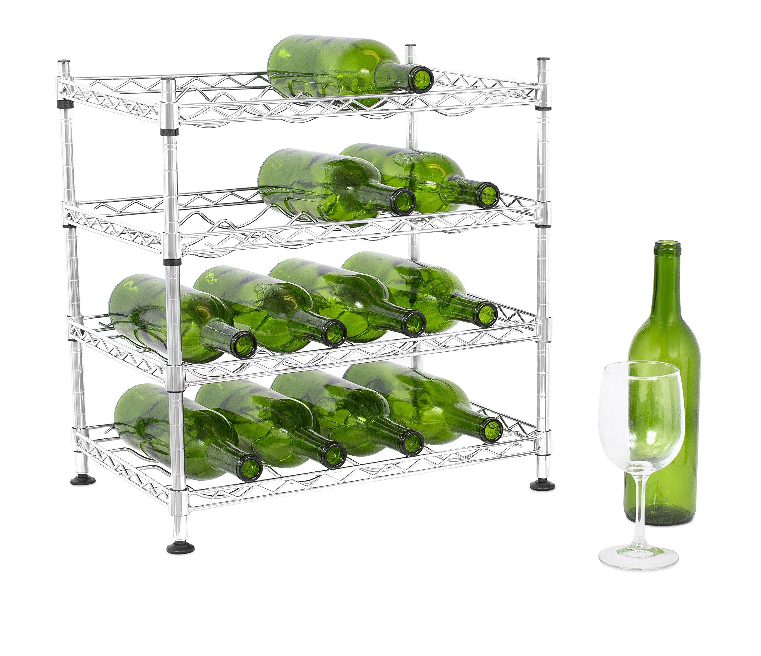 Internet's Best 16 Bottle Wine Rack   Kitchen Countertop   Metal Chrome   Vertical Shelf for Table Top