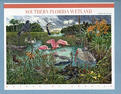Amazon SOUTHERN FLORIDA WETLAND SHEET OF TEN 39 CENT STAMPS