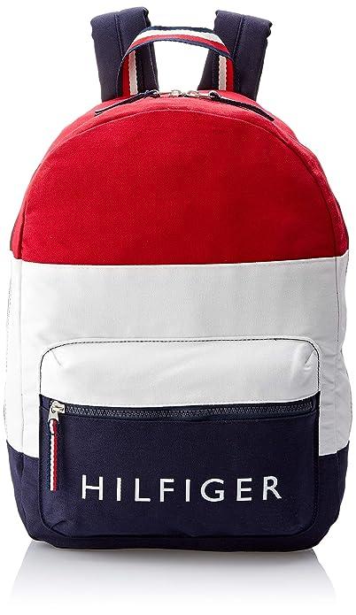 Tommy Hilfiger TOM42959 - Mochila casual de Algodón Hombre Rojo Red White Navy Blue Taille unique: Amazon.es: Zapatos y complementos