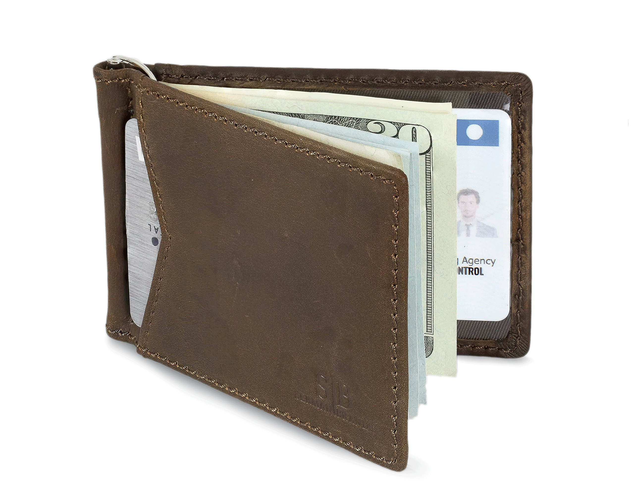 SERMAN BRANDS - RFID Blocking Leather Money Clip Slim Wallet, Minimalist Front Pocket Wallets For Men Made From Full Grain Leather (California Brown M1)