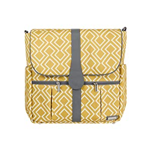JJ Cole Backpack Diaper Bag with No Slip Grips and Multiple Pockets, Citrine Lattice
