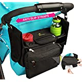 Stroller Organizer with Cup Holders & Wipes Pocket–Stroller Accessory with Non Slip Straps for Better Support & Stability–Tons of Pockets for Extra Storage - True Universal Stroller Organizer by Hujom
