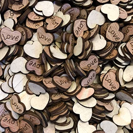 Love Hearts Wooden Shabby Chic Craft Scrapbook Vintage Confetti Hearts 15mm