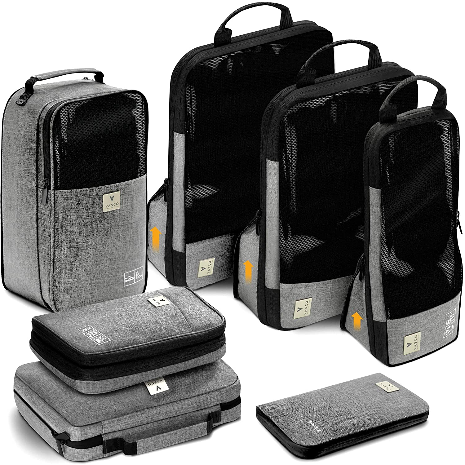 c73e412acd VASCO Travel Packing Cubes Set  Waterproof Travel Packing Organizer Set Of  3 Compression Cubes + Travel Shoes Bag + Hanging Toiletry Bag + Electronics  Cube ...