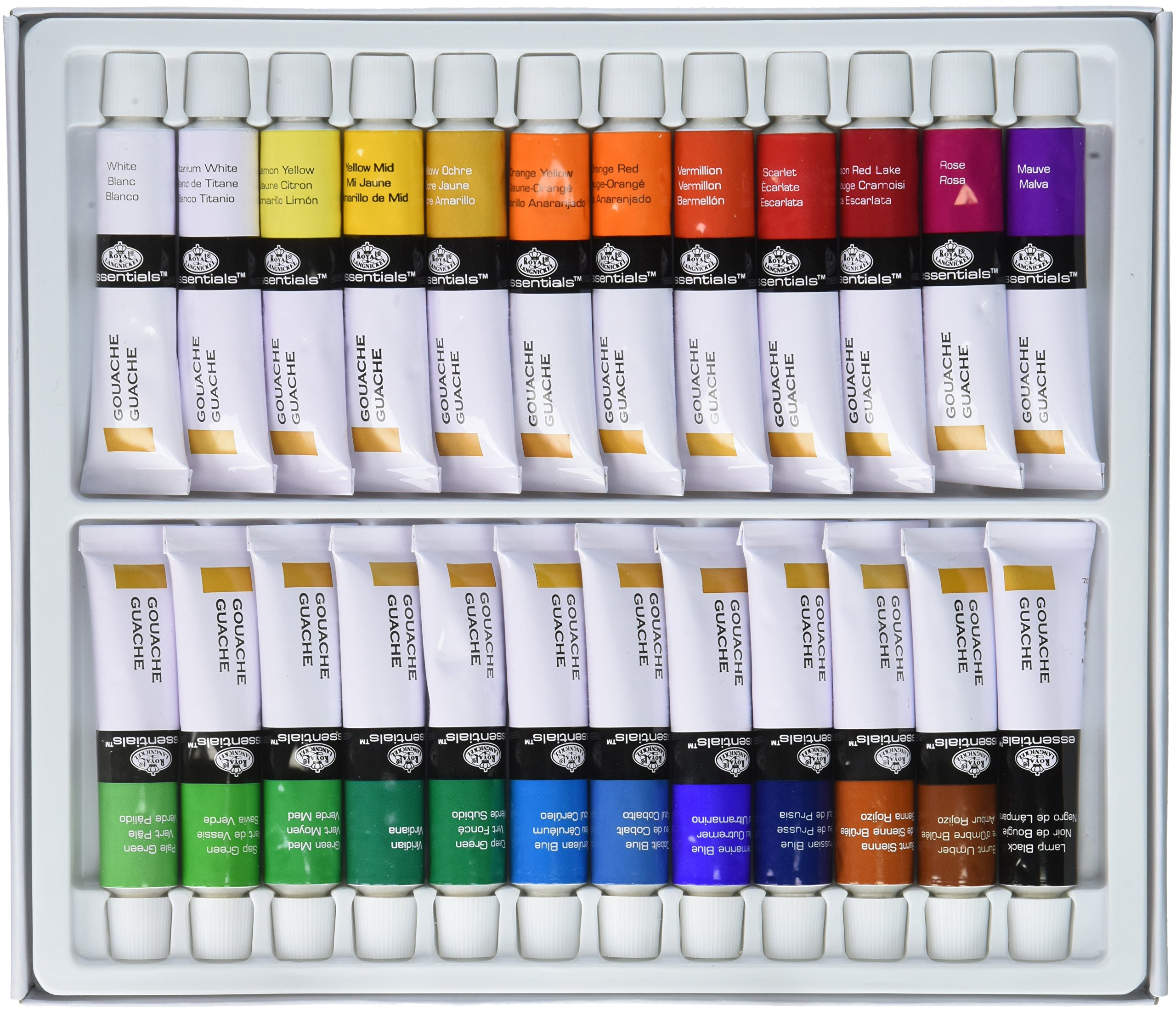 Royal & Langnickel GOU24 Gouache Color Artist Tube Paint, 12ml, 24-Pack, 12, by Royal & Langnickel