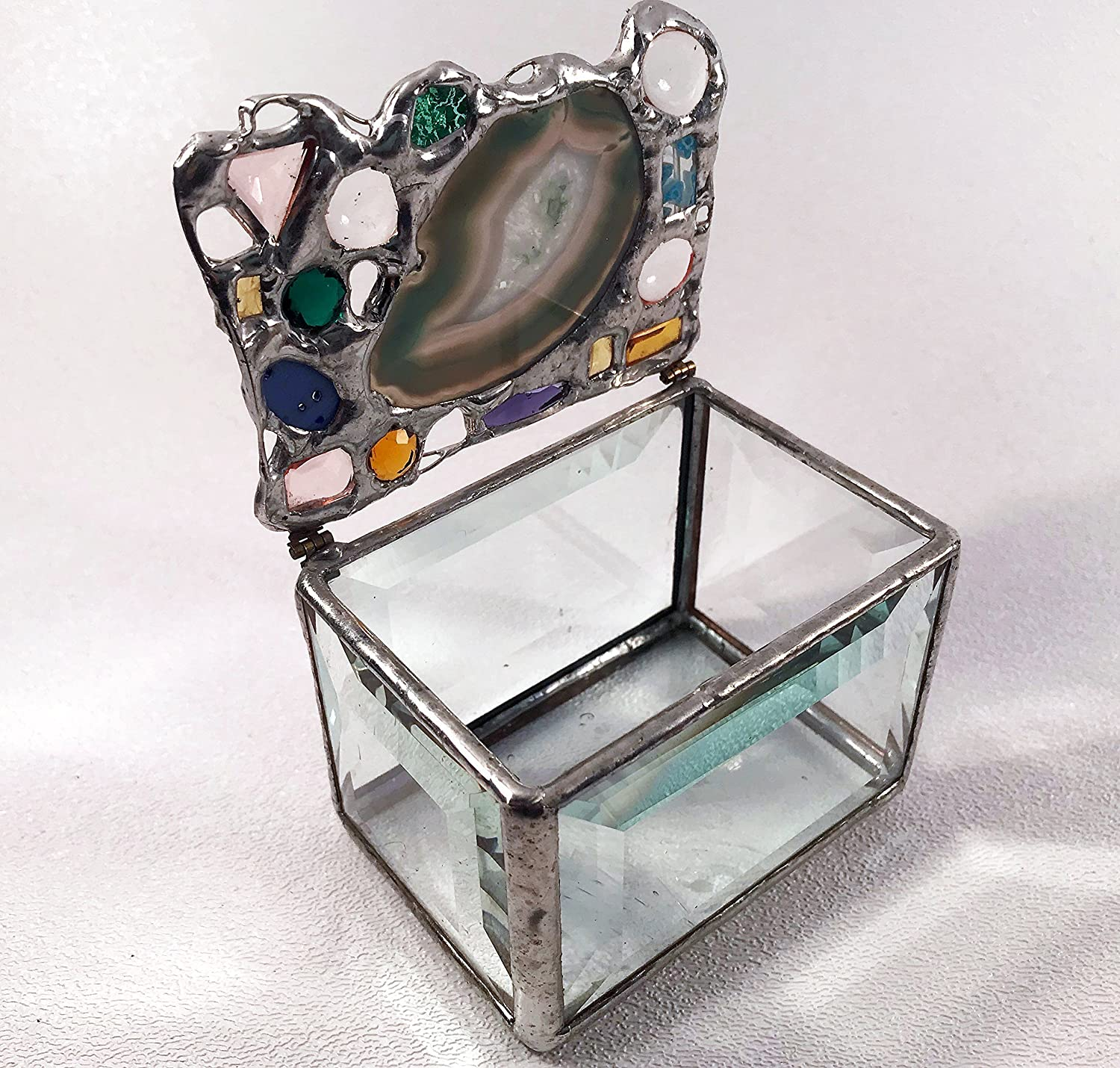 Green, turquoise and tan agate keepsake box with glass bevels and architectural glass bottom, unusual modern and vintage, some faceted, glass jewels. OOAK. Each is unique and cannot be repeated.