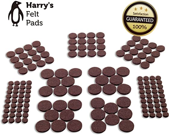 """Brown 4 piece Self-Stick 3/"""" Heavy Duty Furniture Felt Pads for Hard Surfaces"""