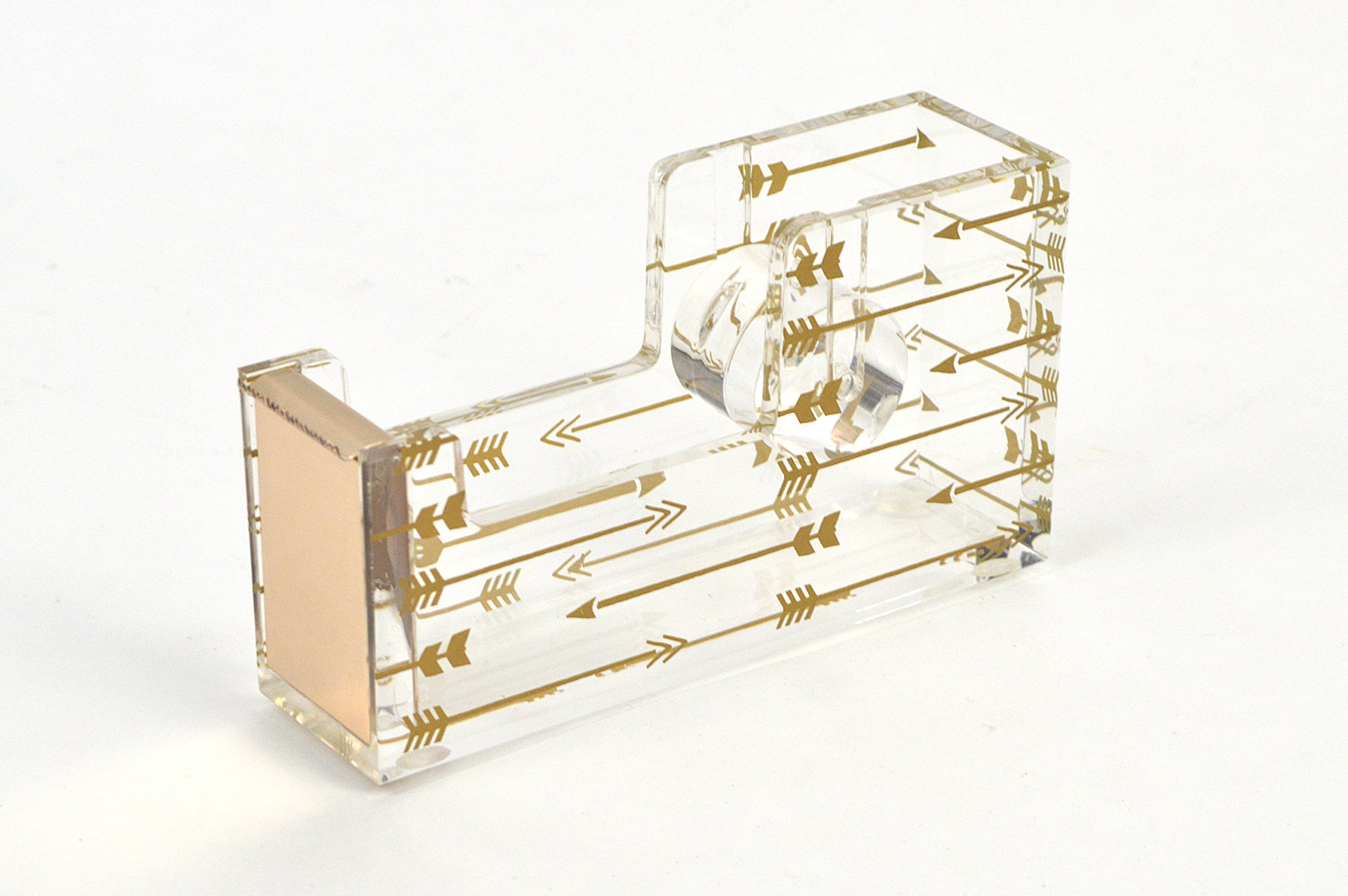Concepts Clear Chic Acrylic Tape Dispenser with Gold Arrows Cute Adorable Office Product