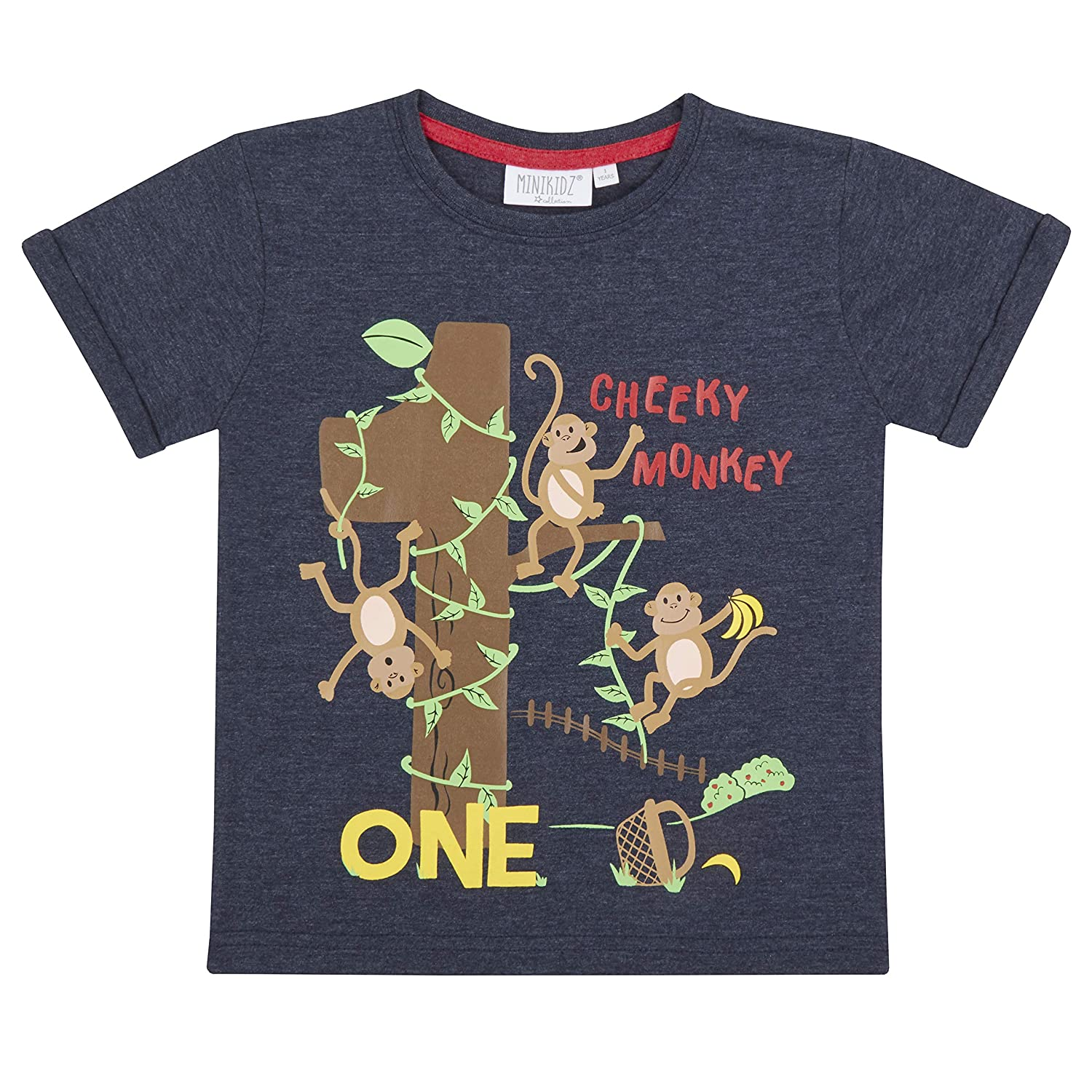 6ff2296d Childrens/Boys/Girls Birthday/I Am/Age Number T-Shirt/1 2 3 4 5 6 Years (1  Year Monkey): Amazon.ca: Clothing & Accessories