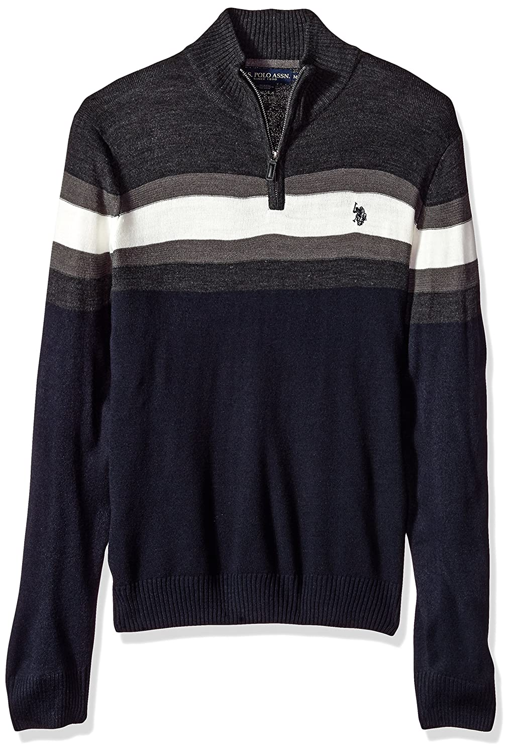 U.S. Polo Assn. Men's Acrylic Chest Stripe 1/4 Zip Sweater ACUF7S5862