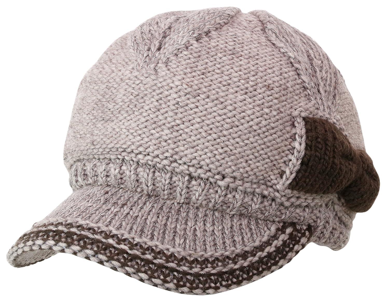 55b7b1e9 Women's Chunky Knitted Metallic Thread Double Layer Visor Beanie Hats  (RIBBONE, BEIGE) at Amazon Women's Clothing store:
