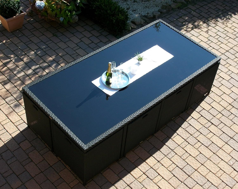 Amazon.de: Gartengarnitur Toscana XXL schwarz (großer Tisch mit 8 ...