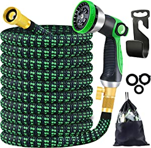 Expandable Garden Hose 75ft with 10 Function Washing Spray Nozzle,4 Layers Latex and Solid Brass Fittings,Flexible Water Hose,Leakproof Lightweight Yard Hose Water Pipe for Watering Equip,Car Washing