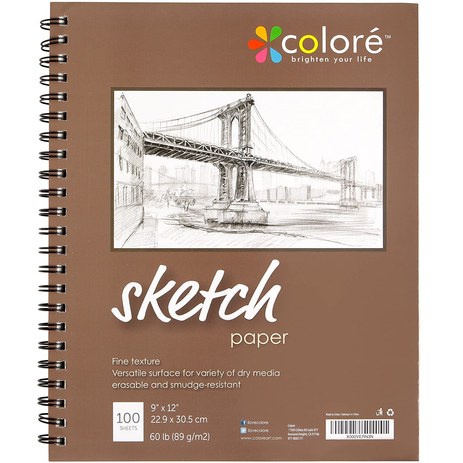 amazon com colore 9x12 inch spiral sketch pad 1 pack office