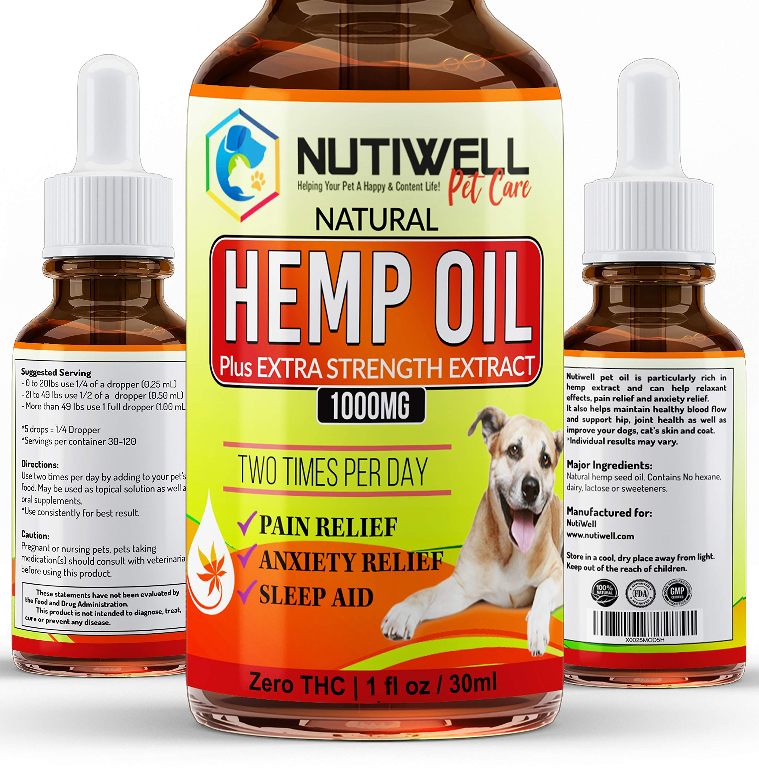 NutiWell Hemp Oil Dogs Cats - 1000 Mg Real Extract - Relieve Separation Anxiety, Joint Pain, Stress Relief, Arthritis, Chronic Pains, Anti-Inflammatory - Rich in Omega 3, 6, 9 - Natural Calming Drop by NutiWell Hemp Oil