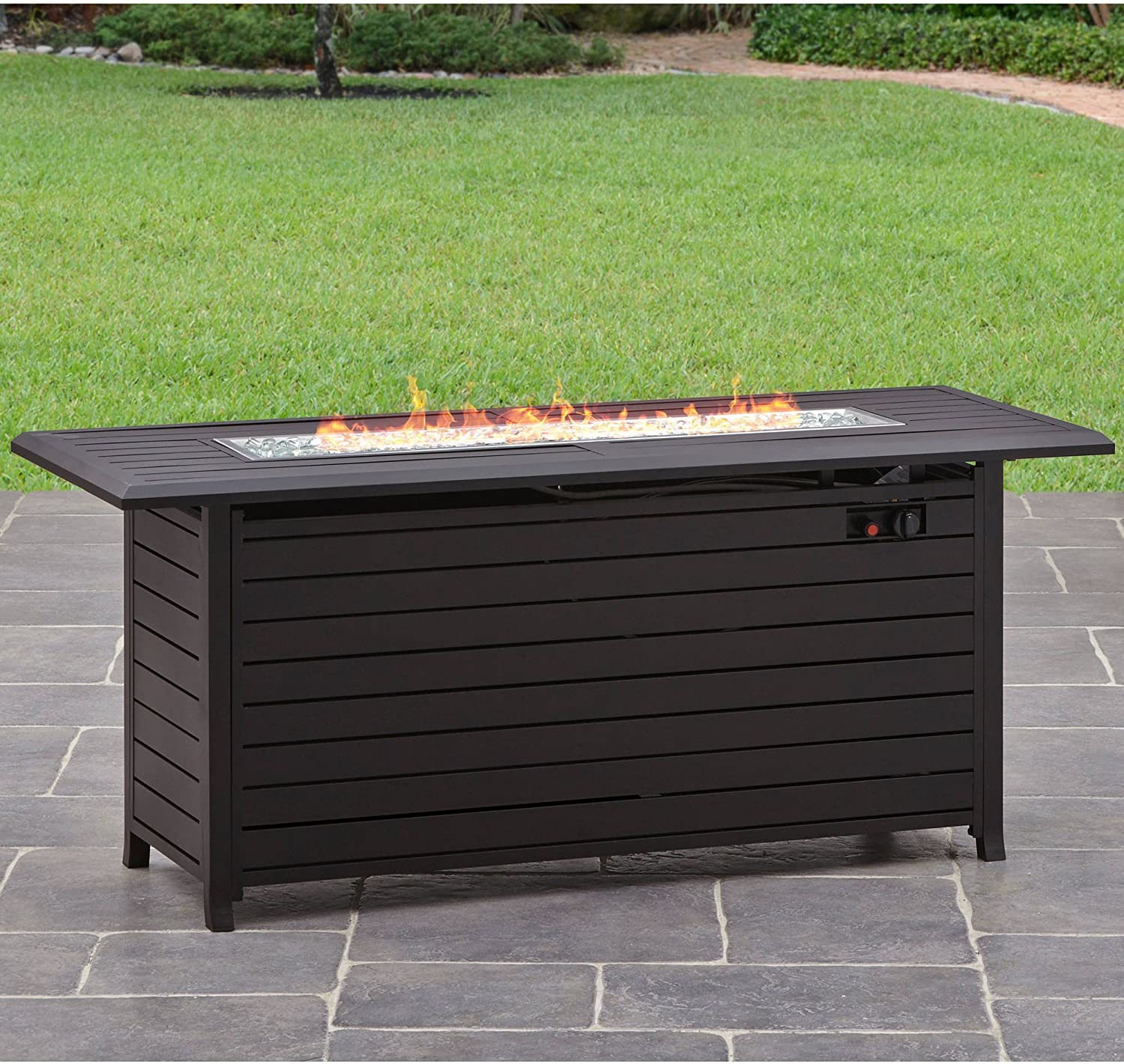 Better Homes and Gardens Carter Hills, Durable and Rust-Resistant Design 57 Rectangular Gas Fire Pit, with Stainless Steel Burner Rectangular Carter