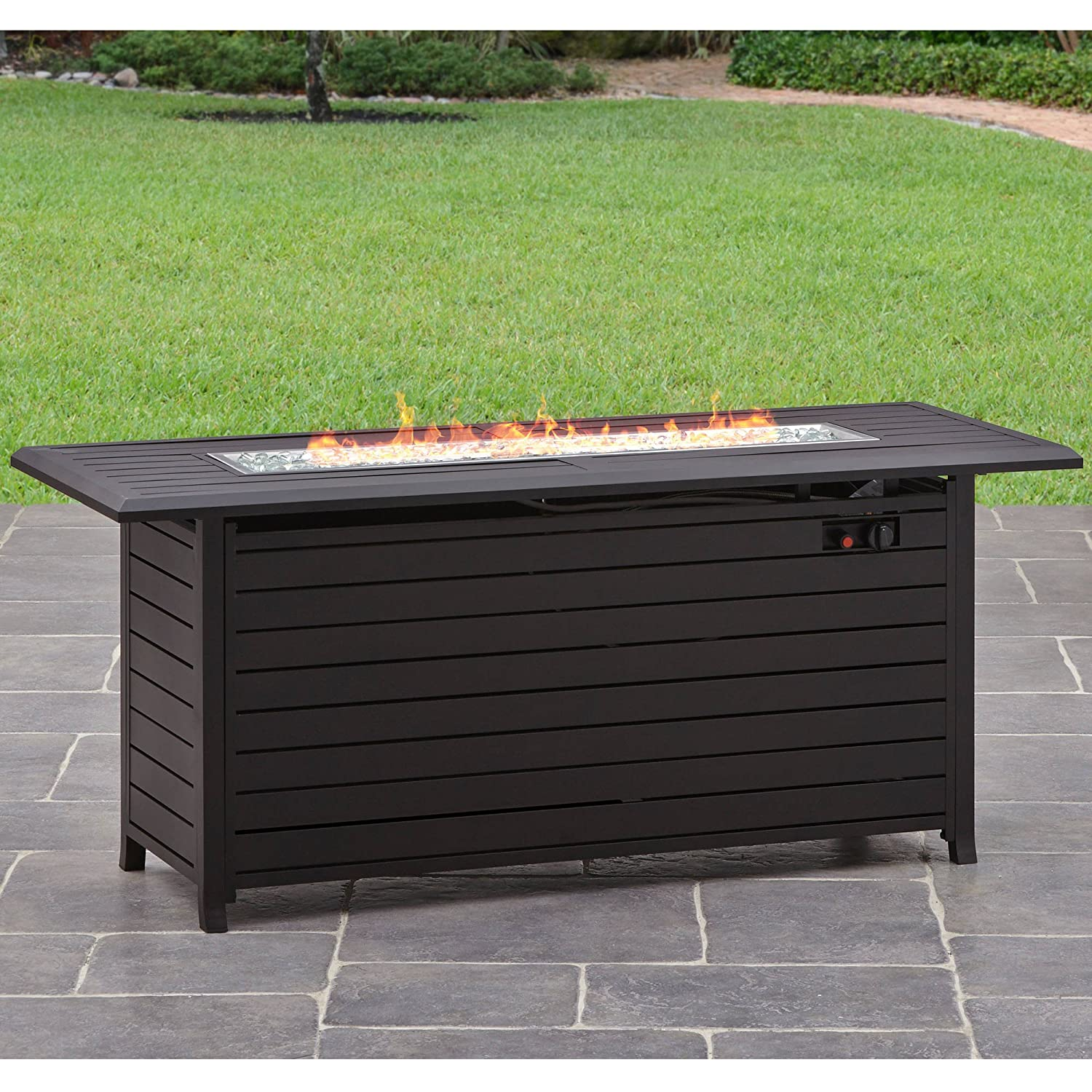 Amazon com better homes and gardens carter hills durable and rust resistant design 57 rectangular gas fire pit with stainless steel burner garden