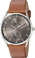 Skagen Men's Saddle Leather Multifunction Watch with Rose Goldtone Accents