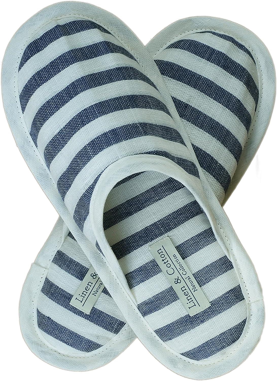 100/% Lino Linen /& Cotton Zapatillas Pantuflas de Estar por Casa AKIRO para Mujer//Hombre