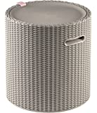 Keter Knit Cool Stool Outdoor 39L Cool Bar Ice Cooler Garden Furniture - Beige