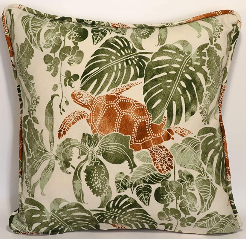 Amazon Com A Set Of 2 18 Tommy Bahama Tropical Turtle Tan Green Outdoor Fabric Decorative Throw Pillow Covers Handmade
