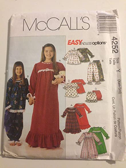 Amazon.com: 4252 McCall\'s Girl\'s Nightgowns Sewing Patterns