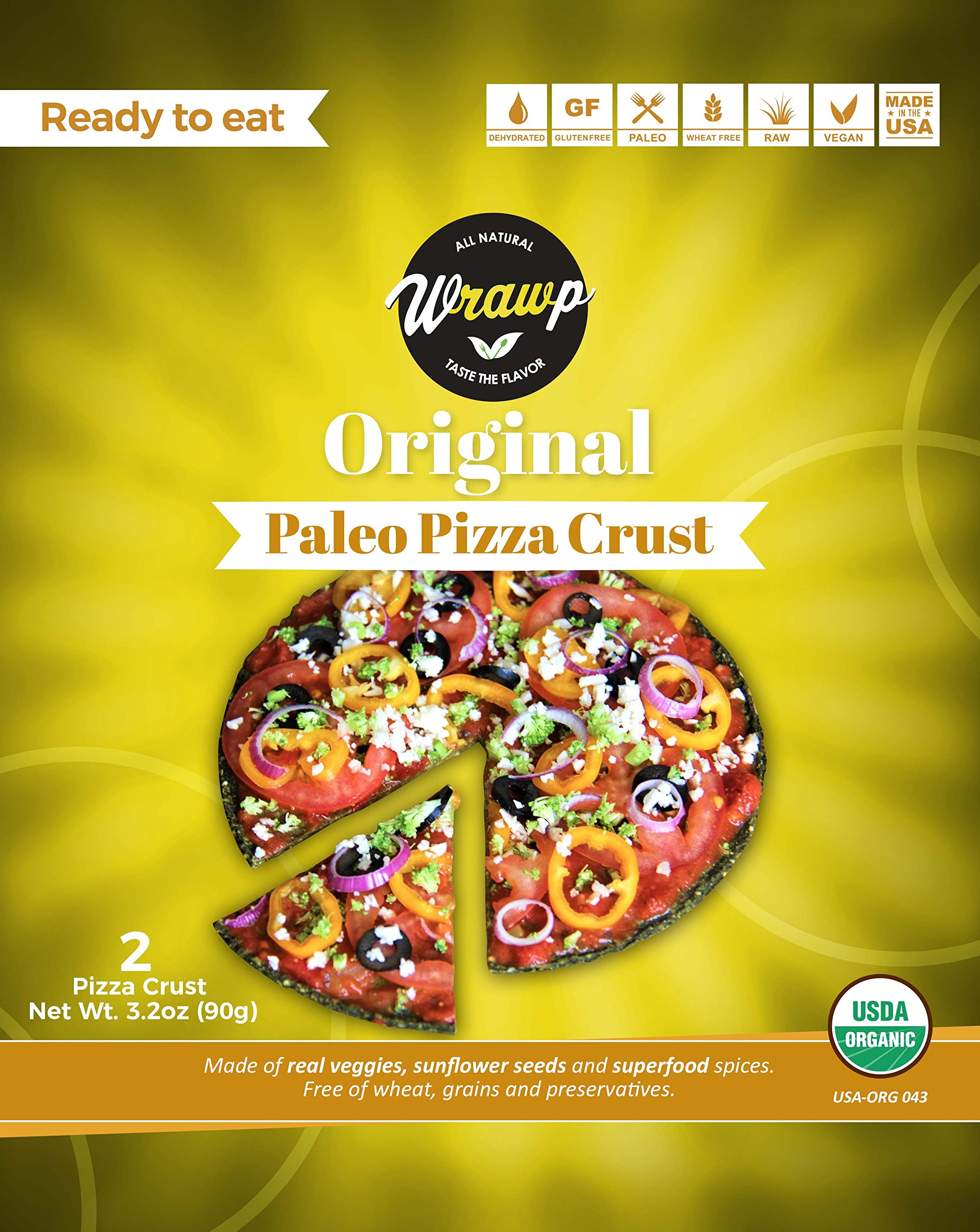 Paleo Pizza Crusts 2 Pack Pizza Crusts - Original (Raw, Vegan, Paleo, Gluten Free wraps) Wheat Free
