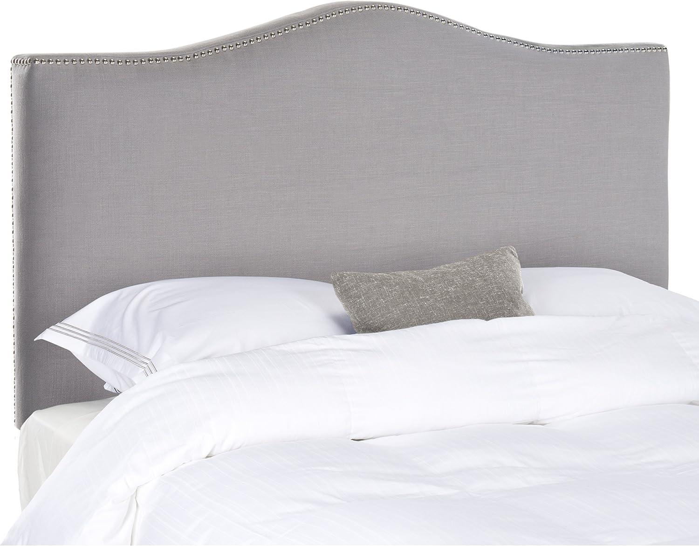 Safavieh Jeneve Arctic Grey Upholstered Camelback Headboard – Silver Nailhead Queen