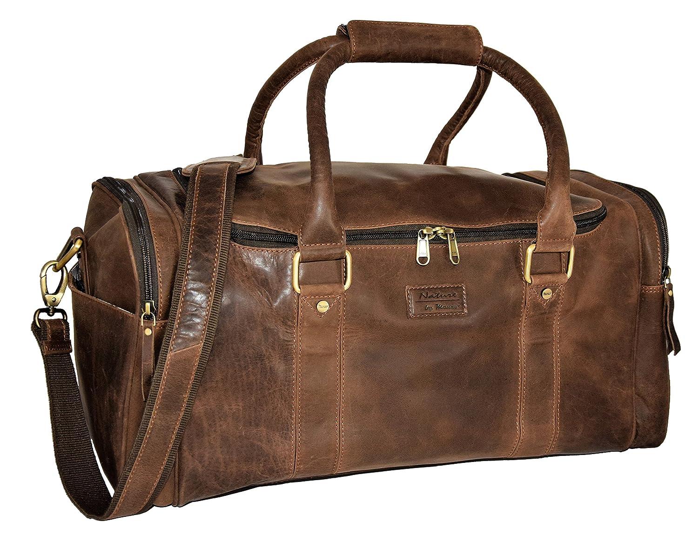 Menzo sac de voyage rétro-vintage en véritable cuir de buffle, bagage à main, sac en cuir (noir)