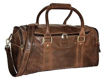Menzo sac de voyage rétro-vintage en véritable cuir de buffle, bagage à main (noir)