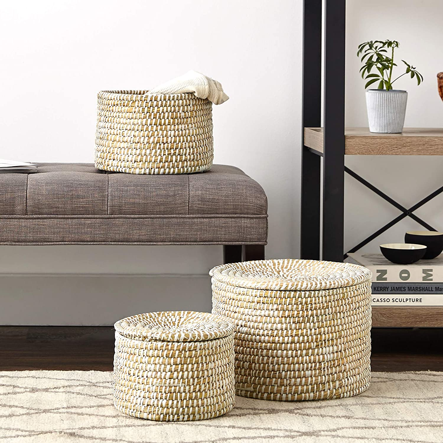 Seagrass basket set for coastal style decor and farmhouse style interiors.