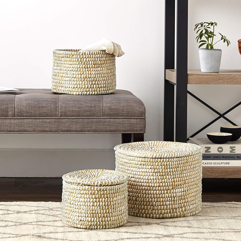 Seagrass basket set for coastal style decor and farmhouse style interiors.